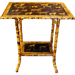 Dogs Decoupaged Bamboo Table
