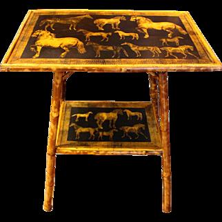 Horses Decoupaged Bamboo Table