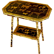 Elongated Octagonal Bamboo Side Table