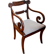 William IV Carved Mahogany Arm Chair