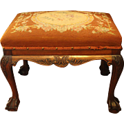 Chippendale Revival Bench with Needlework
