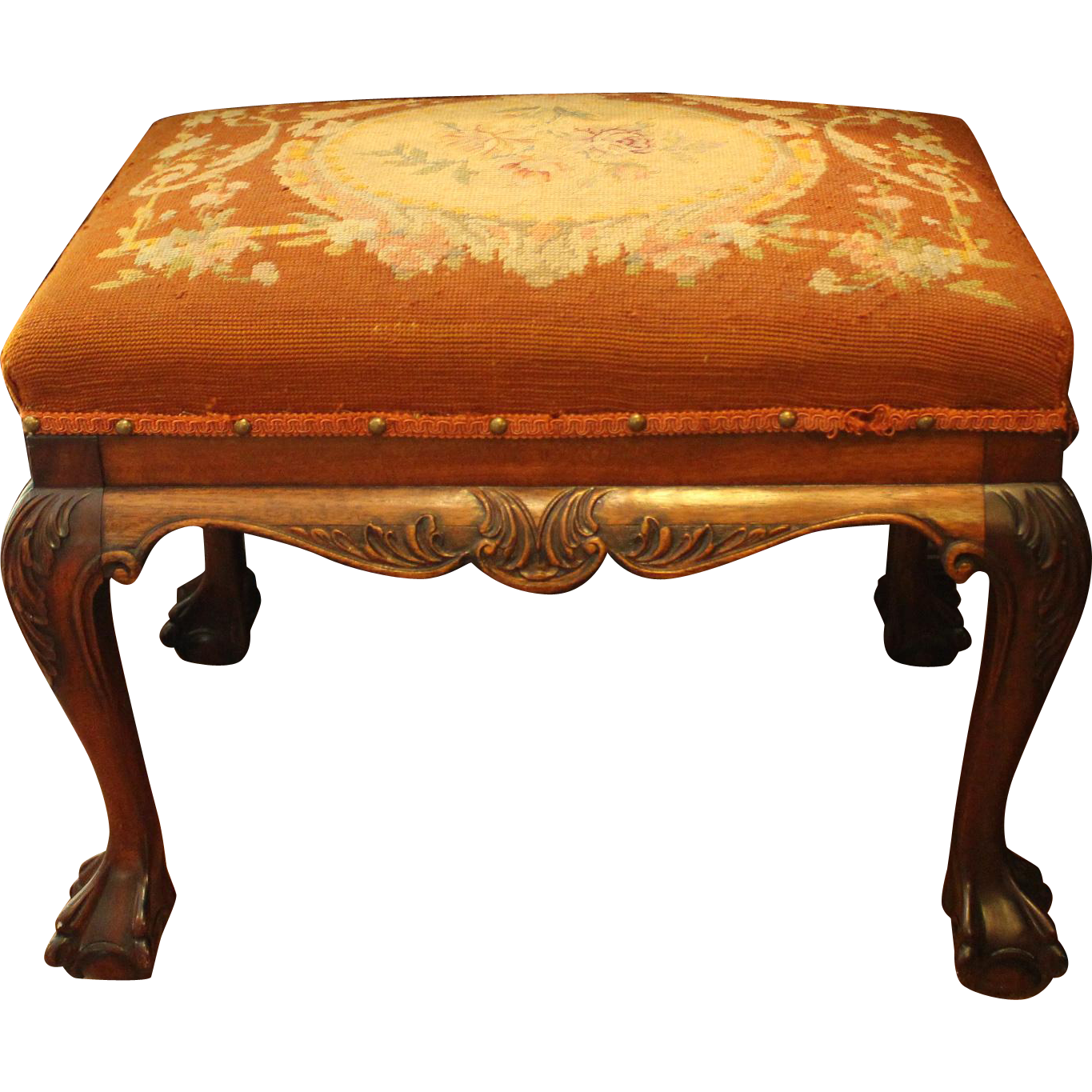 Chippendale Revival Bench With Needlework From Whitehall Antiques On Ruby Lane