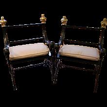 Pair of Large Savanarola Style Chairs