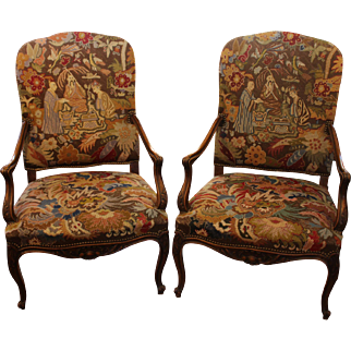 Pair of Beechwood Fauteuils with Chinoiserie Needlepoint