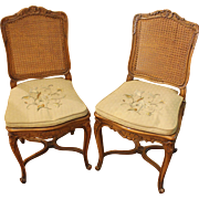 Pair of Caned French Side Chairs