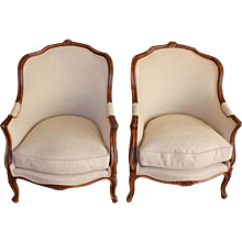 Pair of French Rococo Style Beech Bergeres