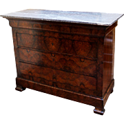French Louis Philippe Walnut Marble Top Commode