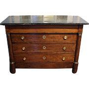French Empire Commode of Walnut with Marble Top