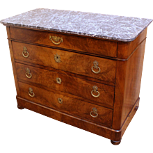 Charles X Marble Top  Walnut Commode