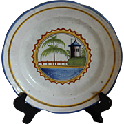 Faience Plate with Watch Tower and Palm Tree