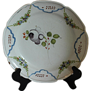 Faience Plate with Purple Flower