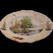 Lake Scene Faience Platter