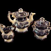 Flow Blue Tea Set, c. 1860