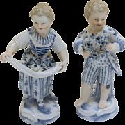 Pair of Meissen Flower Seller Children