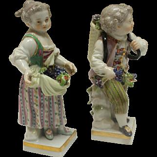 Pair of Grape Harvester Figurines