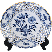 Meissen Blue & White Reticulated Sweetmeats Dish
