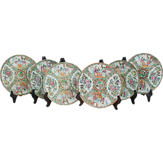 Set of 6 Rose Medallion Plates