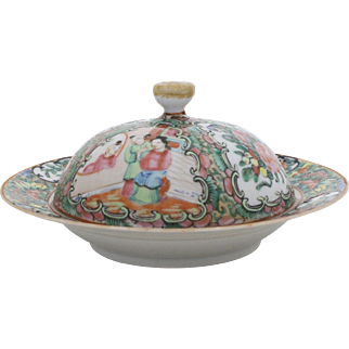 Qing Dynasty Rose Medallion Butter Keeper
