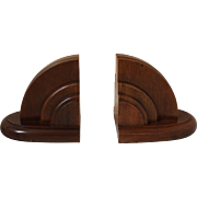Pair of Walnut Art Deco Bookends