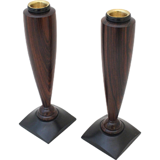 Rosewood & Ebony Modernism Candlesticks by Warren Vienneau