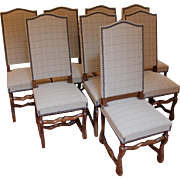 Set of 8 Louis XIII Style Dining Chairs