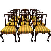 Set of 12 Dining Chairs, Chippendale taste, c. 1900