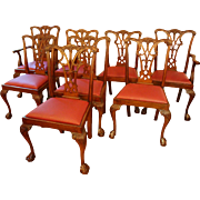 Set of 8 English Georgian style Dining Chairs