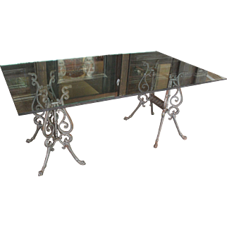 Glass Top Dining Table with Cast Iron Base