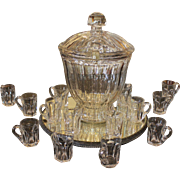 C. 1860-80 Wassail Bowl with Cover & 14 Cups