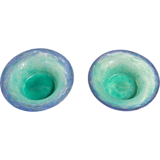 Monart Glass Blue-Green Low Bowls