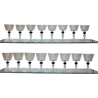 Set of 16 Wine Glasses by Saviati, 1950