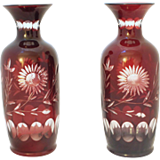 Pair of Ruby to Clear Cut Glass Vases