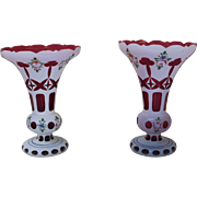 Enameled Cut Glass Vases, 19th Century