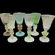 6 Venetian Glass Goblets