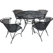 Mid-20th Century Wrought Iron Table & Four Arm Chairs