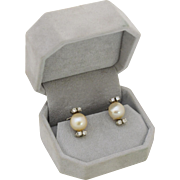 18k White Gold & Pearl Earrings with Diamonds