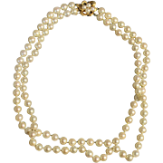 Double Strand Pearl Necklace with 14k gold clasp