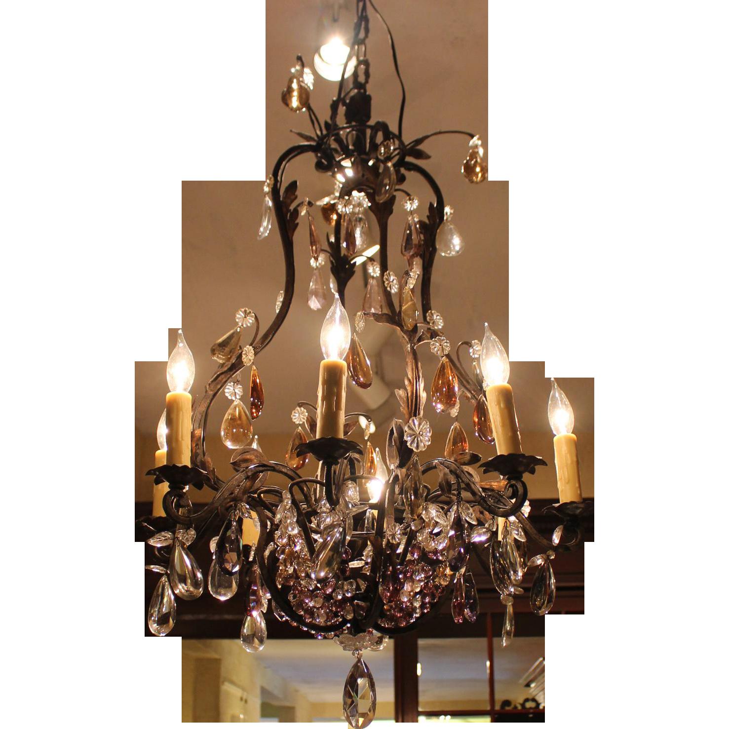 Blacked Scrolled Metal 8 Light Chandelier Whitehall