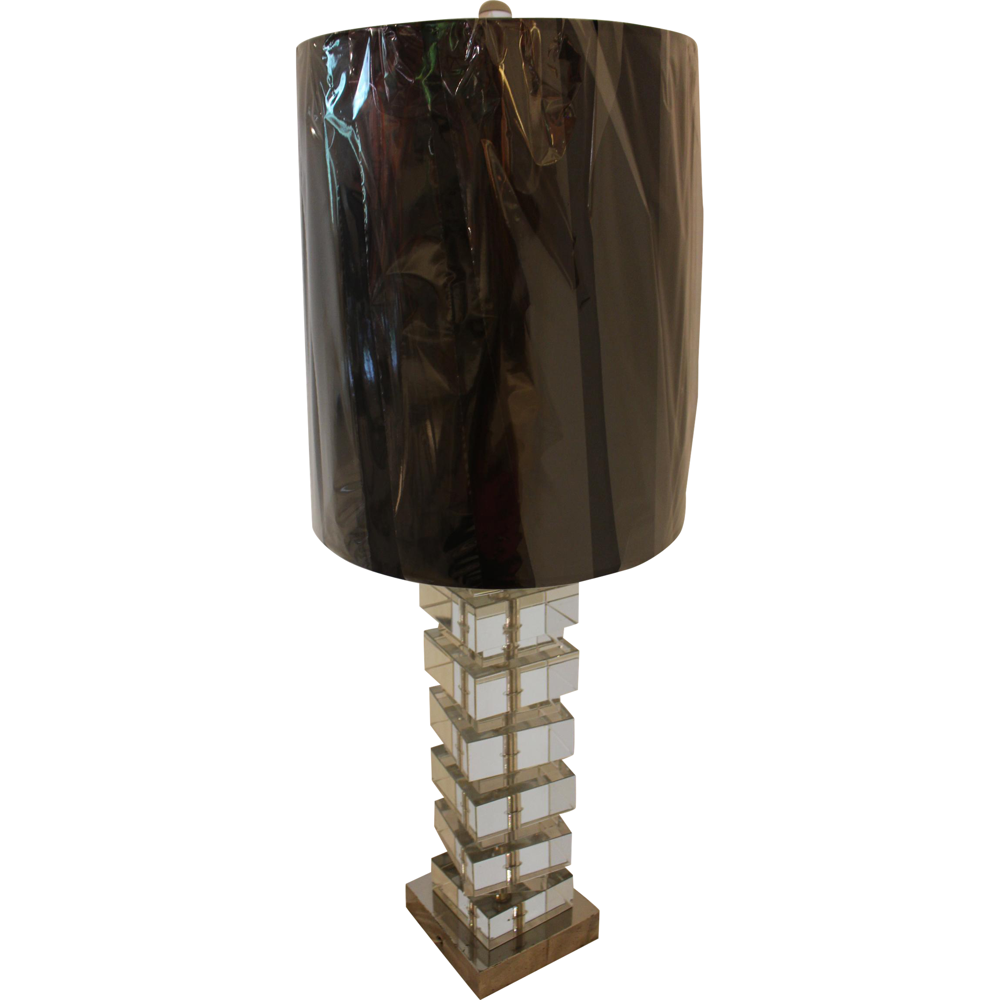 Crystal Block Table Lamp Art Modern Chrome and Cut Crystal Lamp from whitehall-antiques on Ruby ...