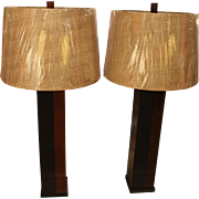 Pair of Phillip Lloyd Powel Slate and Walnut Lamps