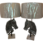 Pair of Cast Aluminum Horse Head Lamps