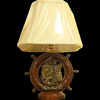 Oak & Brass Ship's Wheel Lamp