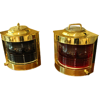 Pair of Brass Ship Lights, Now Electrified