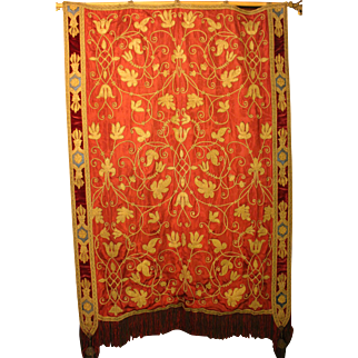 Mid-19th Century Velvet & Silk Panel