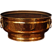 Oval Brass Jardinere with Lion Mask Handles