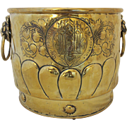 c. 1860 Jardinère with Repoussé Brass and Lion Mask Ring Handles