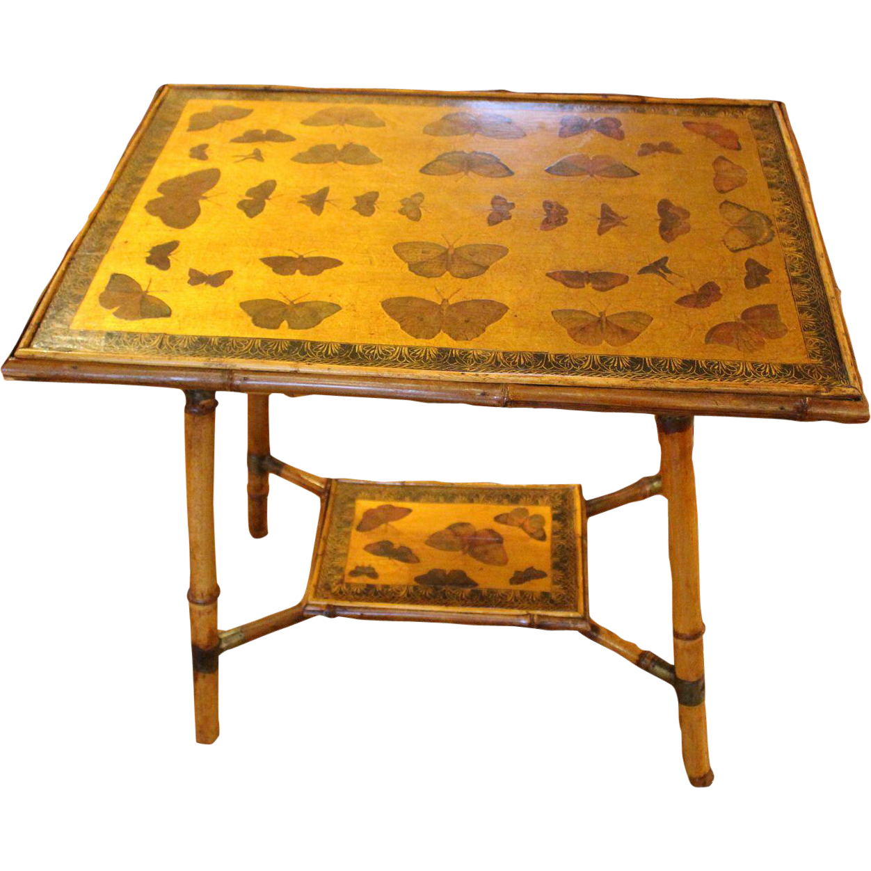 English bamboo side table with butterflies from whitehall for Bamboo side table