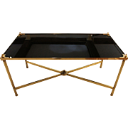 c. 1940 Brass & Black Glass Coffee Table