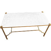 Brass & Marble Top Coffee Table
