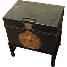 19th Century English Steel & Brass Strong Box